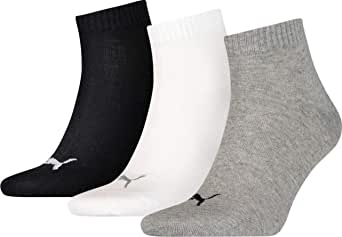 Puma Mens 3 Pack Quarter Plain Socks Lightweight Comfort