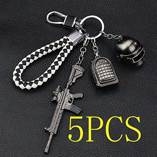 Teepao 3D Keychain for Playerunknown's Battlegrounds PUBG Keychain Pans 98k Level 3 Helmet Weapon Gun Keychain Model Key Chain RingPendant Charm Souvenir with Buckle and Rope