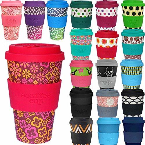 LS Design Öko eCoffee Cup 400ml Coffee to Go Becher Silikonring Bamboo Bambus Baby - Blume (Bambus Blumen)