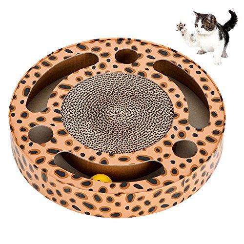 petacc Kratzbaum Wellpappe Papier Kratzbrett für Katzen Circular Pet Liege mit Rolling Ball, drei Löcher und drei Slots