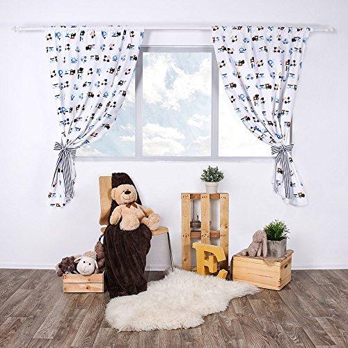 Lulando tendine per la stanza del bambino/tende infantili set (2x) con fusciacca 100% cotone, 155cm x 120cm, oeko-tex standard 100. colore: airplanes/stripes - 600 g