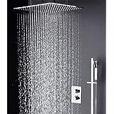 hm Ensemble de douche de salle de bain avec 3 voies SUS304 Stailess Steel 20 pouces Rain & Mist Slide Bar Spout Handheld Robinets de bain et de douche