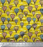 Soimoi Gelb Baumwolle Batist Stoff Wolke & Heißluftballon