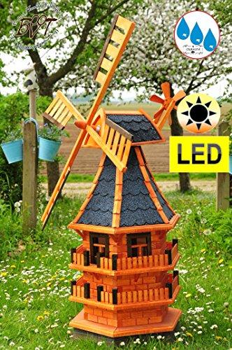 Klassische Windmühle Holz-Gartenwindmühle ca. 140 cm, einstöckig KLASSIK ECKR130-ge-MS-dbl MIT BALKON-Rand Fenster, BLAU voll funktionstüchtig,schöne Details, Fensterkreuz Deko-Windmühlen Outdoor, Windfahne / Windrad komplett mit Solar, Solarbeleuchtung DOPPEL-SOLAR LICHT 1,40 m groß blaugrau blau lasiert lackiert, Flügel - Leisten blauer Korpus unten, für Innen- und Außenbereich, wunderschöne Gartenzierde