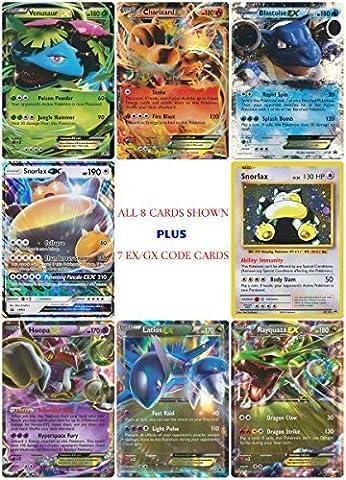 8 EX GX Promo Card Set + 7 Online Code Cards - Charizard EX, Venusaur EX, Blastoise EX, Hoopa EX, Latios EX, Rayquaza EX, Snorlax GX, Snorlax Holo - Rare Holo Foil Pokemon Card Tin Box Set