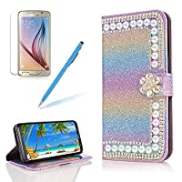 Girlyard for Samsung Galaxy J5 2017/J530 Wallet Cover,Bling Glitter Rhinestone Diamond [Pearl Rainbow Flower] Design Bookstyle Folio Flip Magnetic Closure Soft PU Leather Cover with Free Screen Protector-Gradient Blue