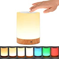 Table Lamp, UNIFUN Touch Sensor Bedside Lamps, Dimmable Warm White Light & Color Changing RGB for Bedrooms