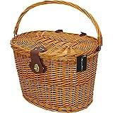 PedalPro Vintagekorb, Fahrradkorb, mit Deckel und braunen Lederriemen