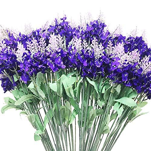 Aisamco - confezione da 10 fiori di lavanda artificiali con 100 steli in totale, fiori finti viola, per casa, matrimoni, feste, patio