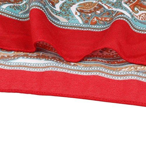 Fulltime®Femelle Écharpes,Bohemian Tassel Châle Rectangle Écharpe Écharpes Serviette de plage Rouge