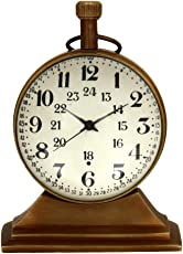 MAD OVER DECOR 2 Inch Antique Look Full Brass Small Table/Desk Clock