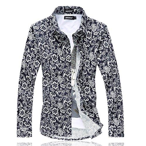 Honghu Casuale Formal Uomo Di base Cotone Morbido Fit Bottone gi¨´ Manica Lunga Vestito Fiore Print Camicia Blu