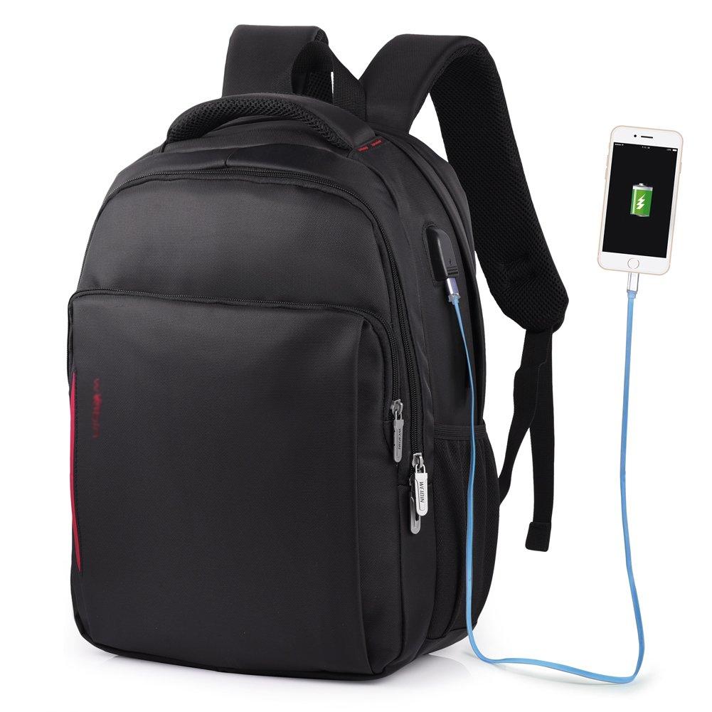 61u%2B%2BZP8NvL - Vbiger - Mochila de trabajo multiusos de 15,6 pulgadas, bolsa bandolera para ordenador portátil, bolsa para estudiantes con bolsillo Frid, color negro