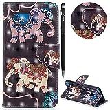 Huawei P10 Lite Hülle,WIWJ Premium Tasche Cover Handyhülle[3D lackierte Halterung Ledertasche]Brieftasche Flip Case Lederhülle Schutzhülle Handyhüllen für Huawei P10 Lite-Zwei Elefanten
