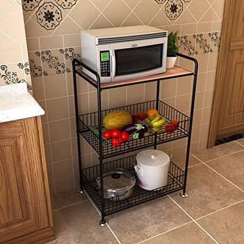 ehendes Küchenregal, schwarzer Kohlenstoffstahl-Mikrowellen-Aufbewahrungsregal, große Kapazität Gemüse-Frucht-Maschen-Korb ()
