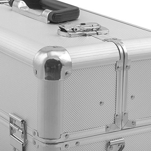 Alurahmenkoffer Werkzeugkoffer Etagenkoffer VARO + Fachbodeneinsätze abschließbar silber - 4