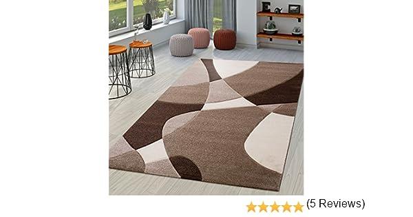 Tappeto moderno per soggiorno astratto taglio sagomato in marrone