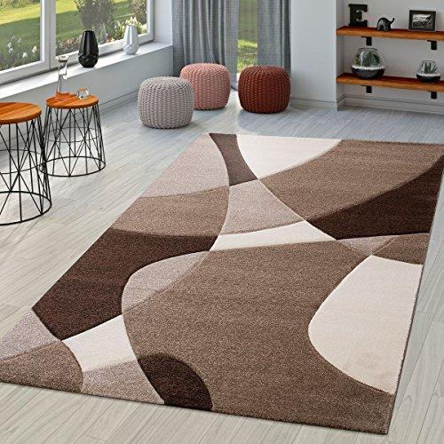 TT Home Alfombra De Salón Moderna Motivo Abstracto Perfil Contorneado Marrón Beige Crema, Größe:160x230 cm