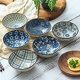 Ciotola di riso Kimchi Spuntino condimento Miso Dip Ciotola di salsa Cucina aromatizzata Dessert Cereali Dish Bowl Set creativo blu e bianco stoviglie di porcellana (Color : Set of 6)