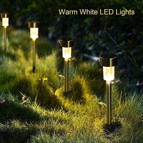 5er LED Solarleuchte Gartenleuchte,KINGCOO Edelstahl Energie Sparende Wegeleuchten Wasserdichte Solarlampe Landschaft Lichte für Garten Rasen Gehweg Außen (Warmweiß)