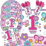 33-teiliges Party-Set 1. Geburtstag Mädchen Sweet Birthday Girl - Teller Becher Servietten Tischdecke mit Schmetterlingen und Blumen