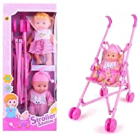 RM Store Stroller Trolley Nursery Toy with 2 Doll Set Dolls for Girls Play Toys for Childs 2 Baby Doll Stroller Foldable…