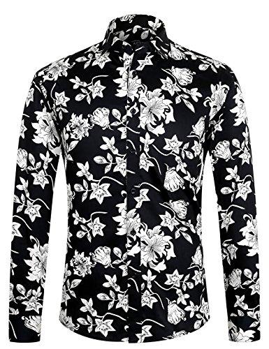 APTRO Herren Hemd Urlaub Blumen Hemd Langarm Schwarz 1107 XXL