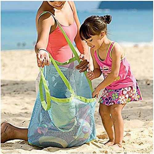 Latinaric 1pc Sand Strand Tasche Netztasche Sandspielzeug Aufbewahrungstasche für Kinder Grün