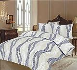 100% Baumwolle Luxus Bettbezug Set, Bettbezug mit 2 Kissenbezügen, Black Leaf, Doppelbet (200 x 200 cm)