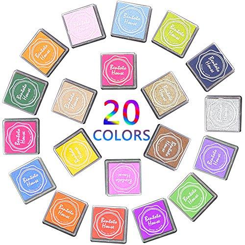 Farben Stempelkissen Set, Bukm 20 Farben Tinte Pads Stempel Stamp Pad Fingerdruck fuer Papier Handwerk Stoff, Fingerabdruck ,Scrapbook, Malerei ,Mehrfarbige