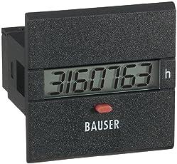 Bauser 3801.2.1.0.1.2 Digitaler Betriebsstunden- Zeitzähler Typ 3801, 115-240 V/AC Einbaumaße 45