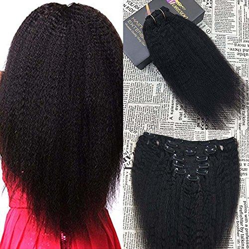 Moresoo Extension de Cheveux Naturel a Clip Afro Kinky Straight Cheveux Raides Naturel Noir 1B Tissage Clip in Extensions 16 pouce
