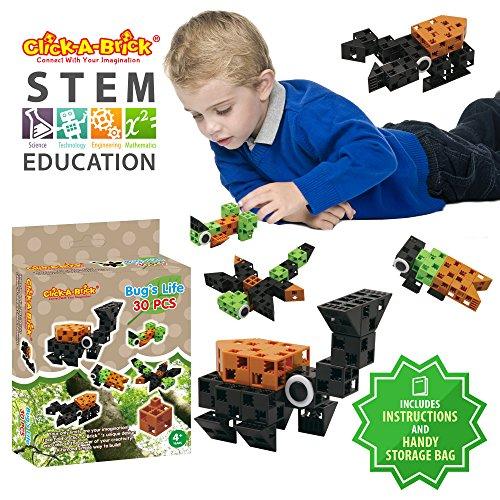 7c940921558b Click-A-Brick Toys Bug s Life 30pc STEM Learning Building Blocks Set for  Boys   Girls
