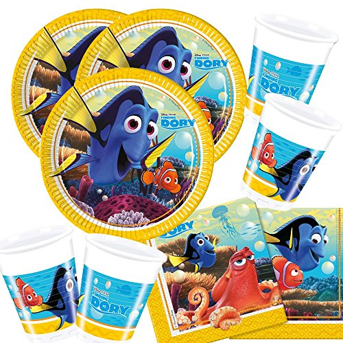 t Findet Dory - Findet Nemo 2 - Teller Becher Servietten für 16 Kinder (Nemo-party)