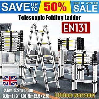 Allzweckleiter Teleskopleiter Klappleiter 2,6m / 3,2m / 3,8m / 5m Alu Ausziehleiter A-Frame/gerade Leiter EN131