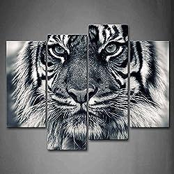 Noir Et blanc Férocité tigre Avec Œil Regarder fenêtres Et Barbe Peinture murale d'art L'image imprimée sur toile Animal Photos d'œuvres d'art pour le bureau à domicile Décoration moderne