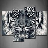 Negro y Blanco ferocidad tigre con ojos mirando y barba de pared Art PINTURA Fotos Impresión sobre lienzo Animal la imagen para decoración de hogar moderno