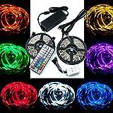 QUMOX 10m (2x 5m) RGB 5050 300 SMD LED Strip Leiste Streifen + 44 Key Fernbedienung + Netzteil 12V 5A 60W Set