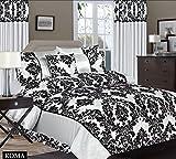 Roman Bettwäsche 260x220 cm Barock Gestreift Satin Bettbezüge + 2x Kissenbezüge 50x75 + Bettlaken 5tlg. Doppelbett Silber Schwarz