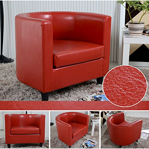 Red Tuff Concepts Faux Leather Padded Seat Tub Chair Armchair club Chair Dining Living Room Cafe
