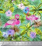 Soimoi Grun Baumwolljersey Stoff Flamingo, Tropische