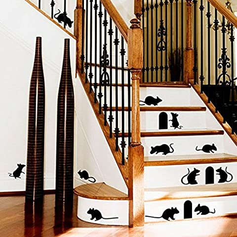 Funny Black Mouse Hole Wall Stickers Creative Rat & Hole Cartoon Floor Stair Stickers Background Decor Removable Wall Decals by ZooYoo