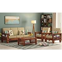 S D FURNITURE Solid Sheesham Wood Standard Sofa Set 5 Seater Furniture Wooden 5 Seater Sofa Set (3+1+1) Teak Wood Sofa…