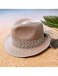 Gr Frauen Sonnenhüte Strand Panamahut mit Fashion Bowknot (Color : Gray, Größe : 56-58cm)