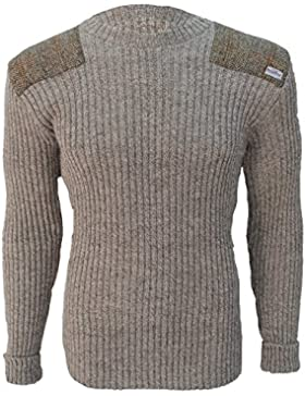 Sudadera de cuello redondo | Harris Tweed parches | 100% British lana | # 14135