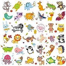 Parche lavable de 36 piezas, diseño de animales de la selva con estampado de transferencia