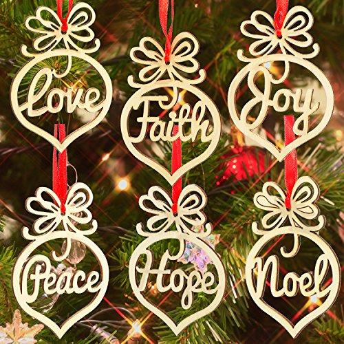 18 pezzi decorazioni natalizie di legno cavo lettera albero di natale ornamento da appendere decorazione del pendente
