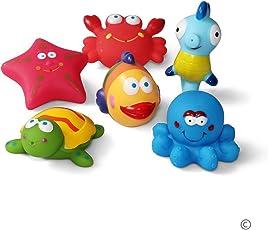 JUNSHEN Badespielzeug Geschenkset(6PCS),Bad Boot Spielzeug,Bath Boat Toys,Schwimmenden Boot Badespaß Zeit Großes Geschenk für Baby