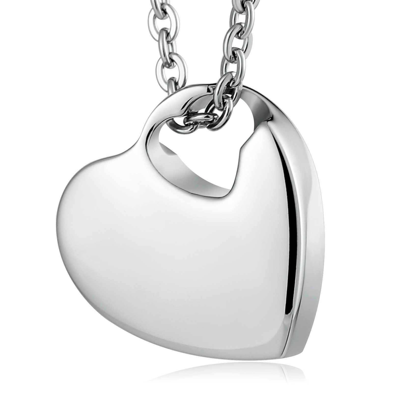 Customized Engraving Stainless Steel Heart Memorial Cremation Urn Pendants Necklace for Ashes
