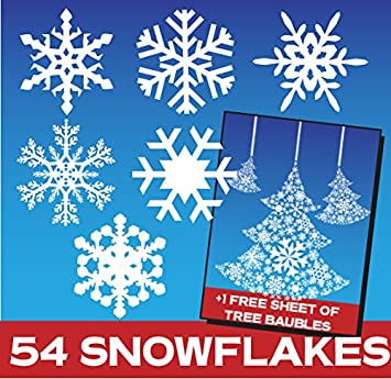 Snowflake Window Stickers Clings Christmas Decorations - Snowflake window stickers amazon